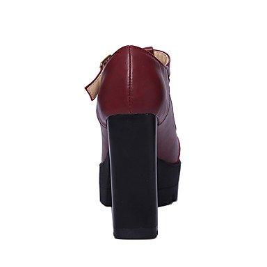 Le donne sexy elegante sandali donna tacchi Primavera Estate Autunno Inverno scarpe Club PU Office & Carriera Party & abito da sera Chunky fibbia tacco Nero Rosso , nero , us8 / EU39 / UK6 / CN39