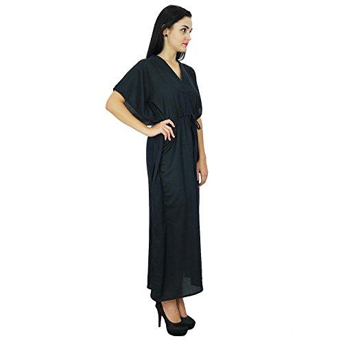 Bimba Frauen Long Solid Kaftan Soft Baumwolle Strand vertuschen Kaftan Maxi Schwarz Z1eTwUj2Q