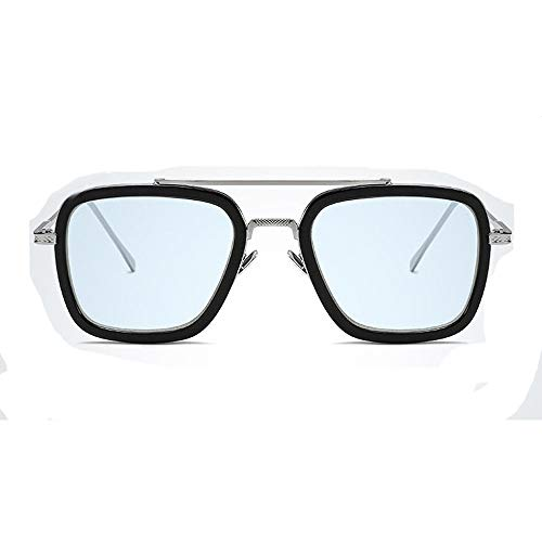 Spider Man Glasses Tony Stark Sunglasses Retro Square Silver Frame Transparent Grey Lens for Men Women (Blue)