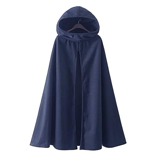 Womens Leisure Hooded Split Front Poncho Cape Cloak Trench Coat Outwear Halloween Outfit Navy Blue Size Medium -