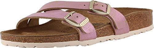 Birkenstock Women's Yao Sandal Washed Metallic Pink Leather Size 42 N EU