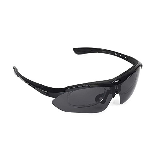 Walleva Polarized Sports Sunglasses With TR90 Frame - Multiple Options Available (Black - - Prescription Inserts Sunglass