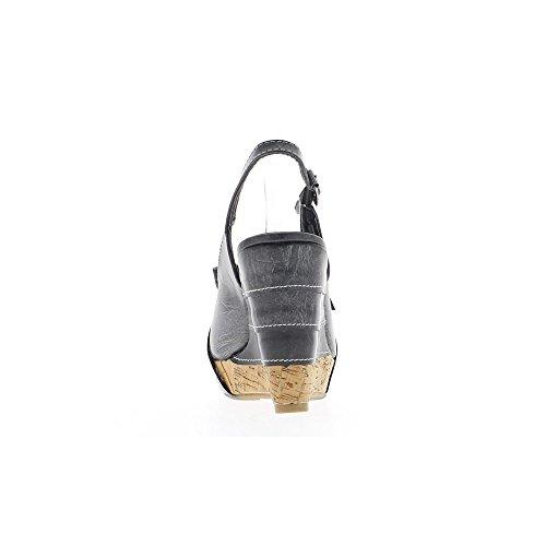 Sandali neri compensata donne aperta a piattaforma e tacco di 10,5 cm
