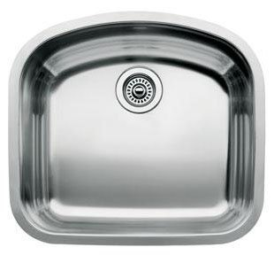 Blanco 510-877 Wave Single Bowl Undermount Kitchen Sink, Satin Polished (Wave Stainless Steel Undermount Sink)