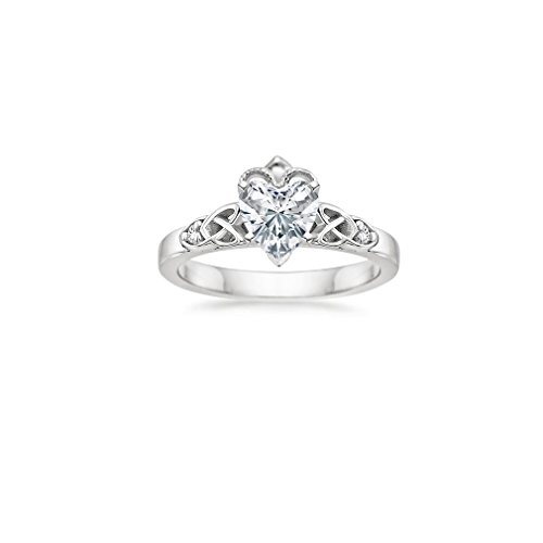 Celtic Claddagh 925 Sterling Silver 0.50Ct White Heart Shap Diamond Engagement Wedding Love Anniversary Party Ring In All Us Sizes 4-13 Availabel.