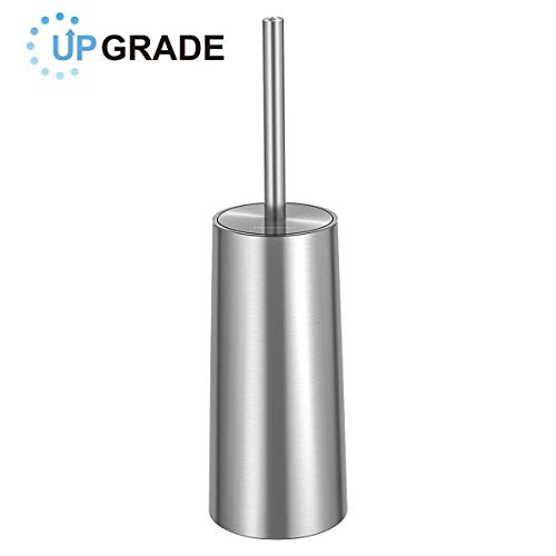 Homemaxs Toilet Brush and Holder,Rust-Resistant and Stainless Steel Round Toilet Bowl Cleaner Brush Set for Bathroom Toilet(Brushed Surface Holder)