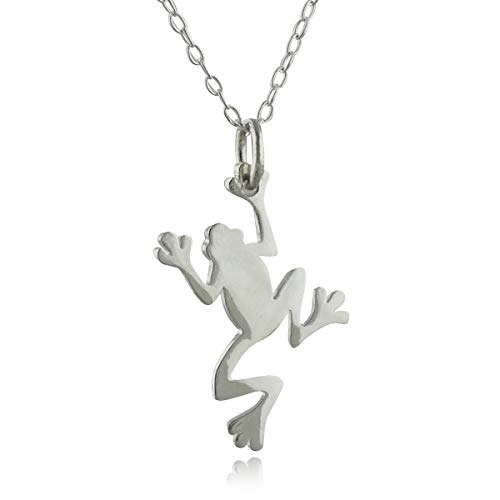 FashionJunkie4Life Sterling Silver Small Tree Frog Silhouette Charm Necklace, 18