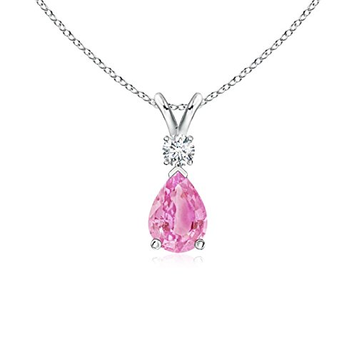Pear Pink Sapphire Teardrop Pendant Necklace for Women with Diamond in 14K White Gold (7x5mm Pink (Drop Pink Sapphire Necklace)