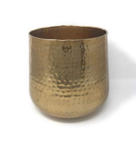 Serene Spaces Living Large Hammered Gold Vase, Shiny Gold Multipurpose Bowl, Measures 8.75