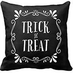 HLPPC Trick or Treat Halloween Throw Pillow Case 18 x 18 Inches
