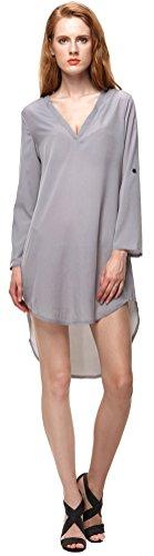 U-shot Ladies 'V cuello irregular camiseta Casual Business de cóctel vestido de Swing gris