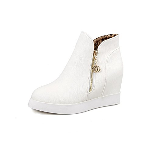 Ground Womens All Bootie Weather Waterproof Warm Closed Low Soft Lining Heel MNS02436 Urethane White Boots Toe 1TO9 Boots Zip Track dBO7qdW