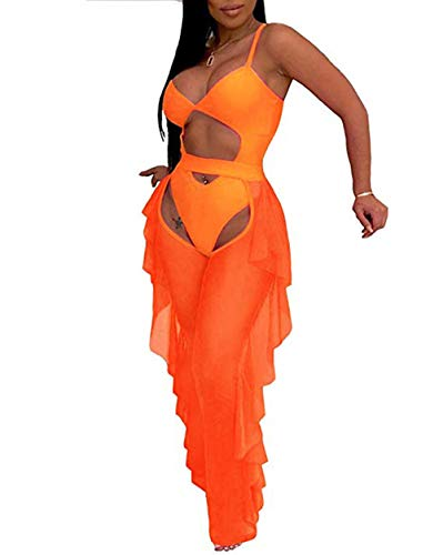 Katblink Two Piece Outfits for Women - Sexy Mesh See Through Swimsuit Bikini Bottom Cover Up Ruffle Pants Set Beachwear Orange M