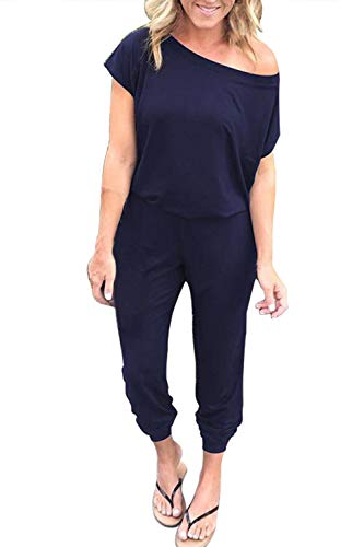Fixmatti Women Cold Shoulder Short Sleeve Long Pant Casual Lounge Rompers Blue L ()