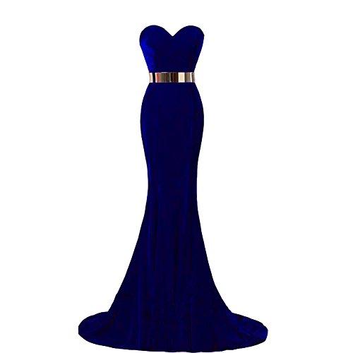 Kivary Sweetheart Mermaid Long Velvet Prom Dress Gold Sash Evening Party Gown Royal Blue US 8