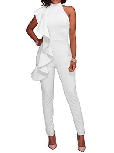 Woman Sleeveless Ruffled Lace Jumpsuits (White) - 6