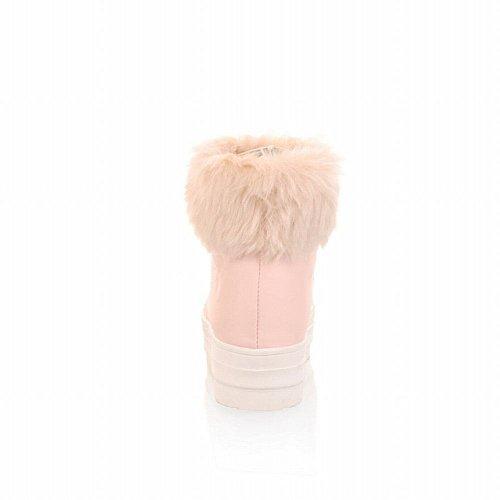Lucksender Femmes Sweet Style Lacets Chaud Mignon Fausse Fourrure Confort Plate-forme Bottes De Neige Rose