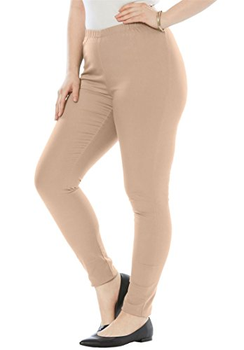 Roamans Women's Plus Size Skinny Stretch Legging New Khaki,18 T (Roamans Suit Womens Pant)