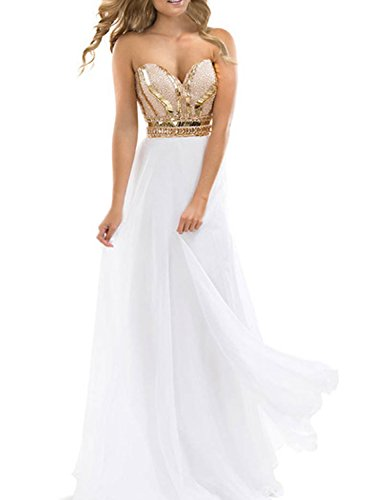 TrendProm Women's Prom Dresses A Line Chiffon Beaded Bodice Evening Gowns Size 6 US (White Beaded Bodice)