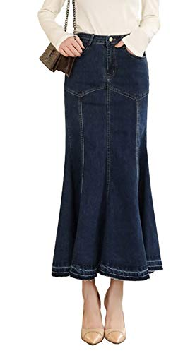 chouyatou Women's Graceful Slim Fit A-Line Vintage Mermaid Fishtail Pencil Long Denim Skirt (26, Blue)