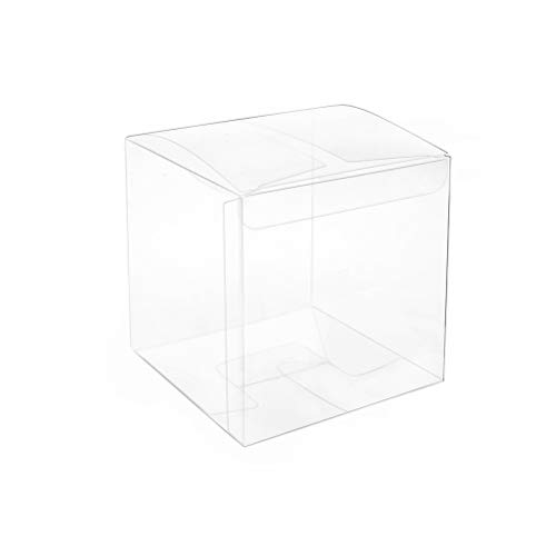 MOWO Clear Plastic Box 2.4x2.4x2.4 inch for Gift Candy Treat Cupcake Transparent Packing Box Party Favors -