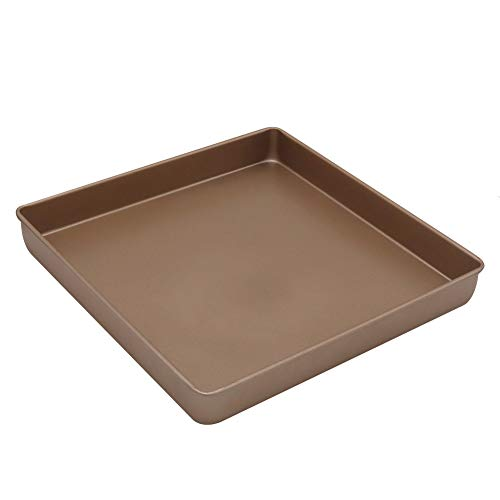 Square Baking Pan, 11x11 Inch Nonstick Square Cake Pan/Baking Sheet Pan/Square Cookie Sheet, Carbon Steel & Champagne Gold
