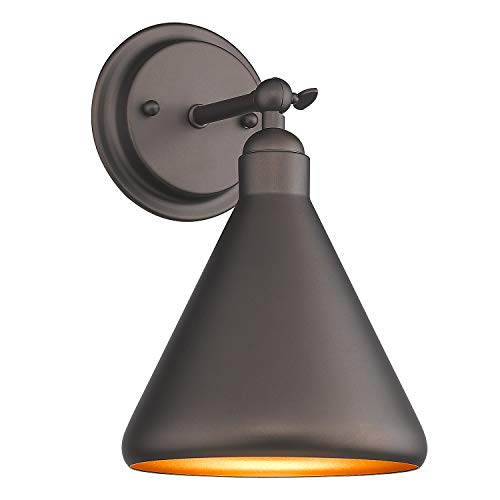Zeyu 1-Light Wall Light Fixture, Industrial Vanity Light Wall Sconce for Kitchen Hallway Bathroom, Oil Rubbed Bronze Finish with Metal Shade, ZY05-1W ORB