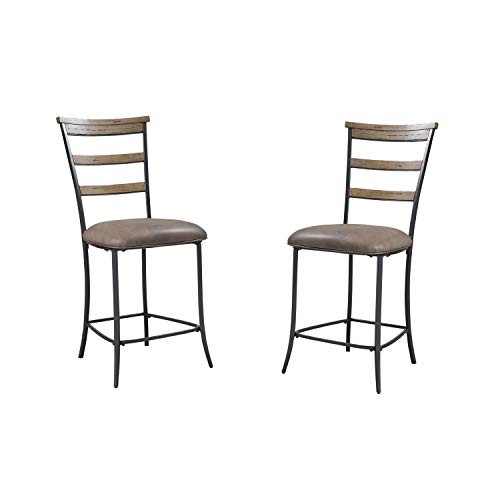 Hillsdale Furniture 4670-825 Charleston Non-Swivel Ladder Back Stool, Set of 2, Desert Tan and Brown
