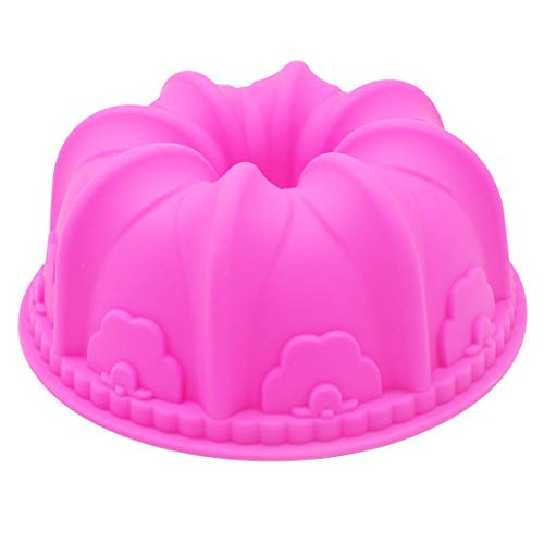 X-Haibei Large Lily Swirl Bundt Cake Pan Bread Chocolate Bakeware Silicone Mold