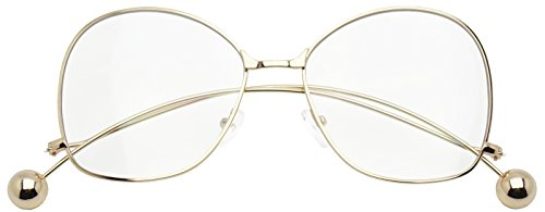 Gold Silver Metal Round Oversized Butterfly Accent Ball Tip Flat Clear Lens Eye Glasses (Gold | Clear Lens, - Glasses Wierd