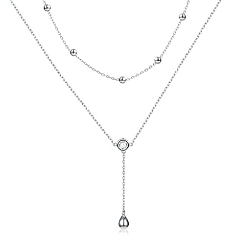 FLYOW Layered Necklace S925 Sterling Silver Teardrop Double - Sale: $26.34 USD