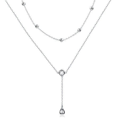 Sterling Silver Teardrop Double Layered Choker Y Lariat Necklace for Women ()