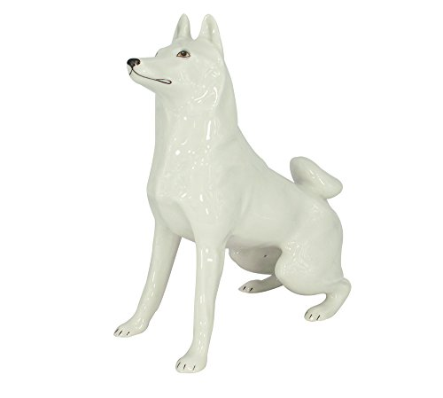 Husky Siberian Dog Lomonosov Porcelain Collectible Figurine (White Husky Siberian Figurine)
