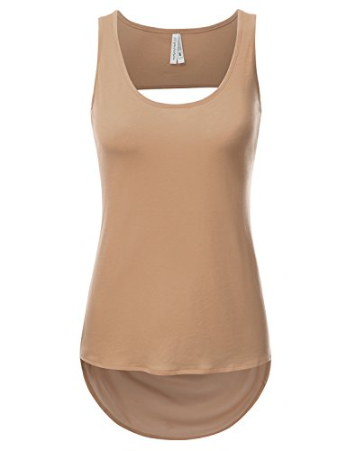 JJ Perfection Women's Solid Woven Sheer Back High Low Tank Top With Back Cut Out CAMEL L