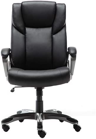 Amazon Basics High-Back Bonded Leather Executive Office Computer Desk Chair