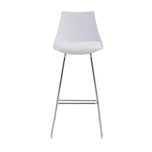 """Emerald Home Neo White 30"""" Bar Stool with Molded Plastic Shell, Cushioned Seat, And Metal Bracing, Set of Two"""