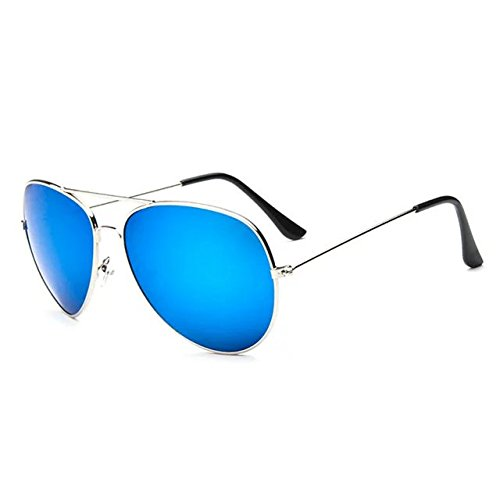 Brendacosmetic New Fashion Vintage sunglasses Silver Ultra Light Metal Frame reflective sunglasses,Color Film Mirror Flat Lens Polarised Casual Sunglasses for - Prescription Do Sunglasses I Need