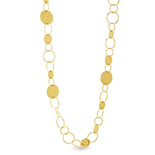 Catherine Malandrino Open and Closed Circle Disc Yellow Gold -Tone Link Necklace for Women