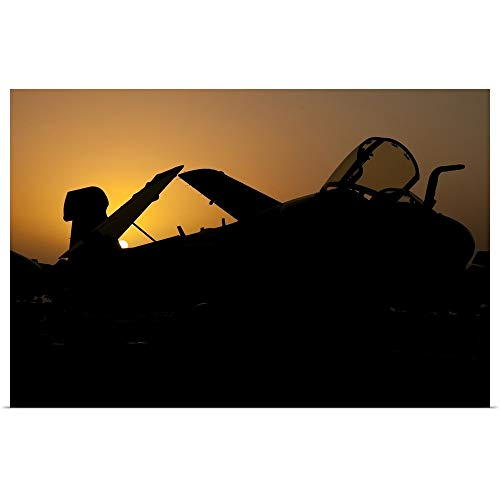 GREATBIGCANVAS Poster Print Entitled Silhouette of an EA-6B Prowler at Sunrise on The Flight Deck of USS Nimitz by Giovanni Colla 18