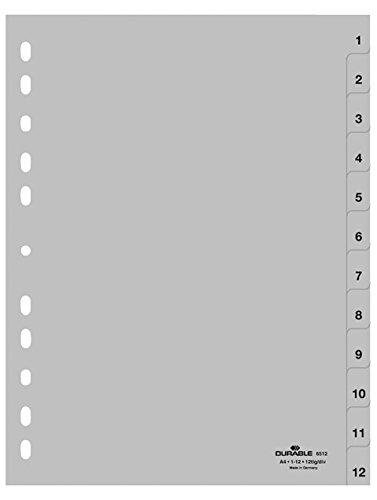 onglets A4 en relief 1-12, PP enti/èrement recouvrant Durable 651210 Index gris en chiffres paquet de 1 x 25
