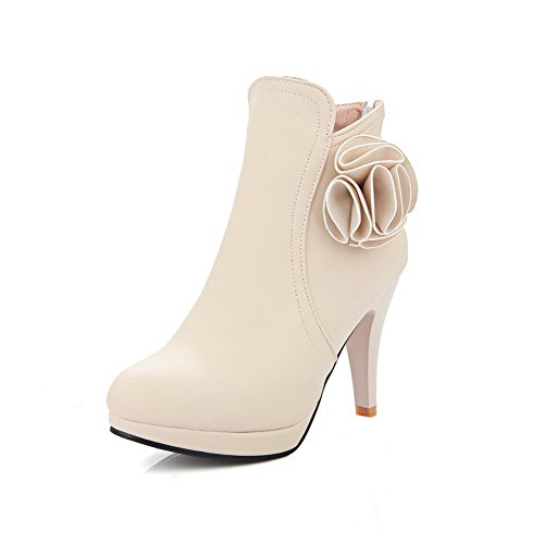AllhqFashion Low-Top Women's Round Closed Toe High-Heels Frosted Low-Top AllhqFashion Solid Boots B01NBB8CVS Shoes 4758e7