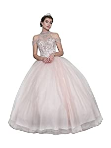 Calla Collection Womens Blush Pink Halter Neck Quinceanera Ball Dress XS-3XL