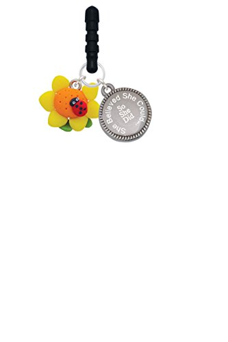 - Fimo Clay Sunflower with Ladybug She Believed She Could Phone Charm