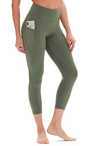 icyzone Yoga Pants for Women - High Waisted Workout Leggings with Pockets, Power Flex Athletic Capris Exercise Tights (M, Army)