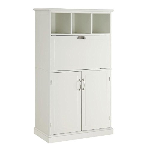 Amelia Storage Wooden Secretary Desk in White