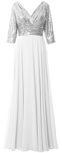 Chiffon Formal V 3 Gown Dress MACloth Wedding Neck White Sequin Women 4 Mother Silver Sleeve TzFPA