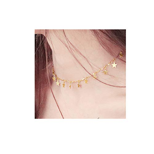 EGOO&YAMEE Gold Chain Choker Necklace Women Grils Lucky Star Pendant Necklace Handmade Jewelry