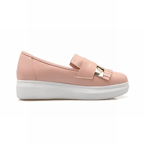 Carolbar Women's Chic Concise Platform Tassels Flat Loafer Shoes Pink XQxULWC