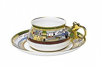 Lomonosov Porcelain Bone China Cup and Saucer Bilibina Village at the Lake 6.1 fl.oz/180ml