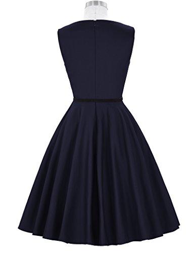 Boatneck Belt Floral 50 Vintage Tea GRACE KARIN Dress Sleeveless pxYF05S